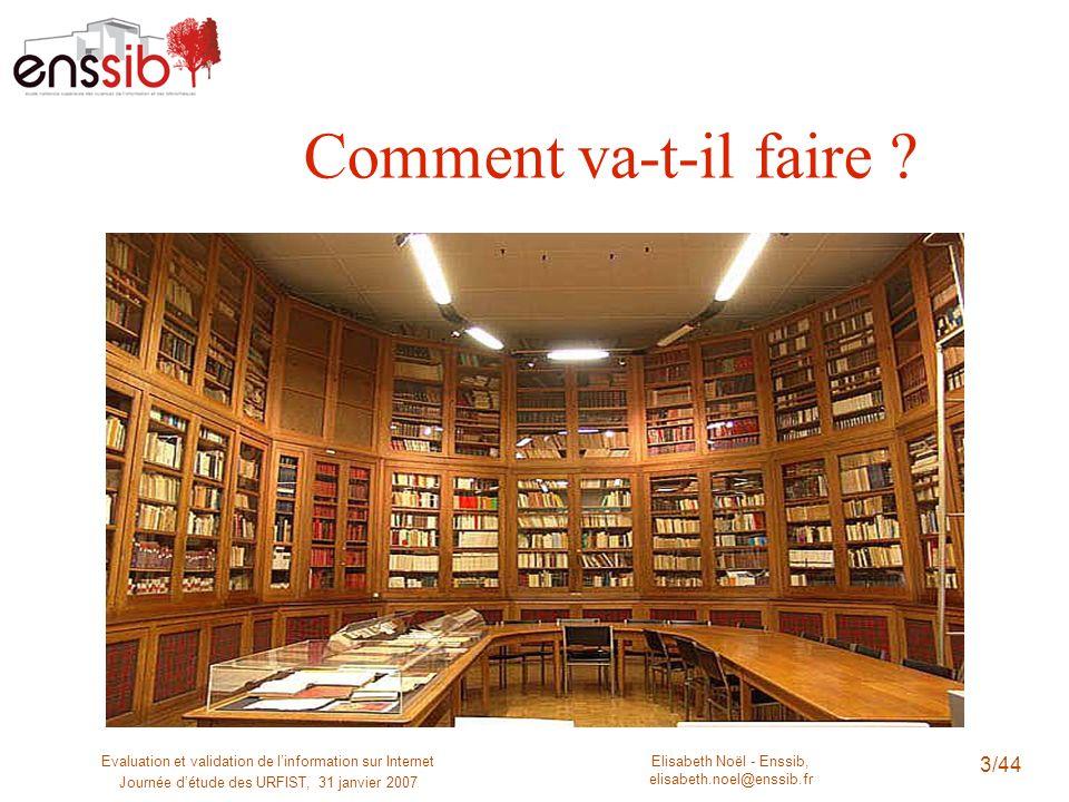 Elisabeth Noël - Enssib, elisabeth.noel@enssib.fr Evaluation et validation de linformation sur Internet Journée détude des URFIST, 31 janvier 2007 3/4