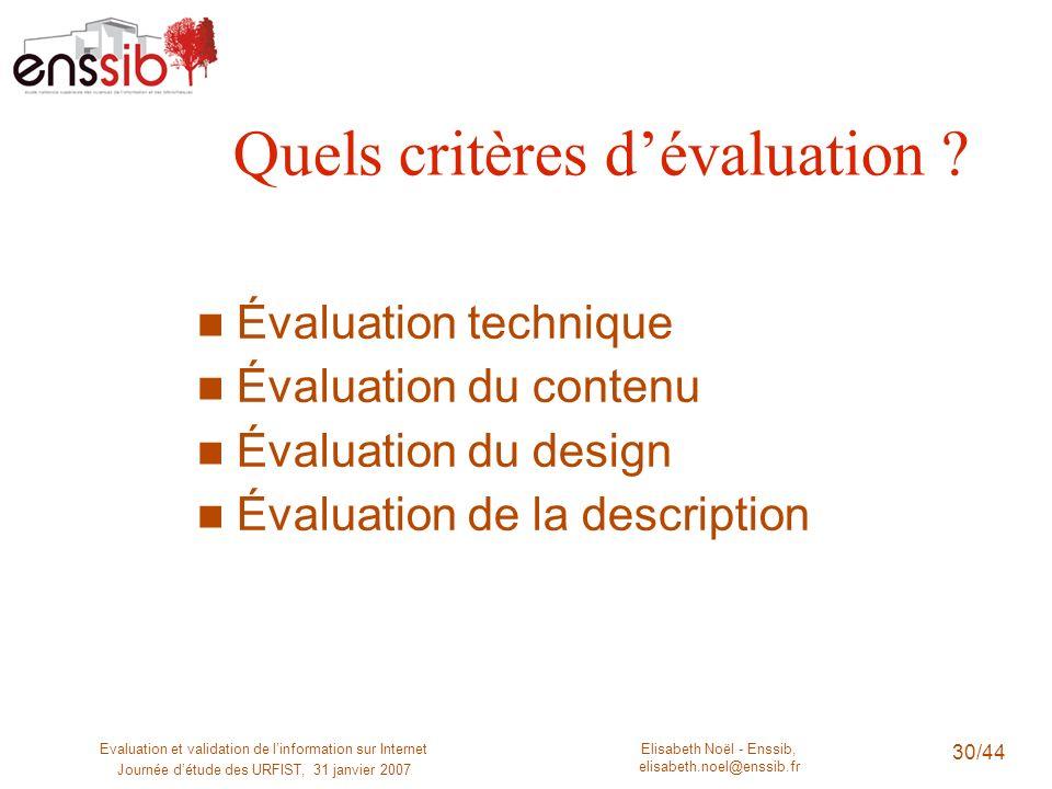 Elisabeth Noël - Enssib, elisabeth.noel@enssib.fr Evaluation et validation de linformation sur Internet Journée détude des URFIST, 31 janvier 2007 30/