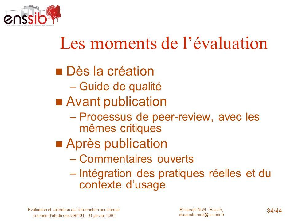 Elisabeth Noël - Enssib, elisabeth.noel@enssib.fr Evaluation et validation de linformation sur Internet Journée détude des URFIST, 31 janvier 2007 34/