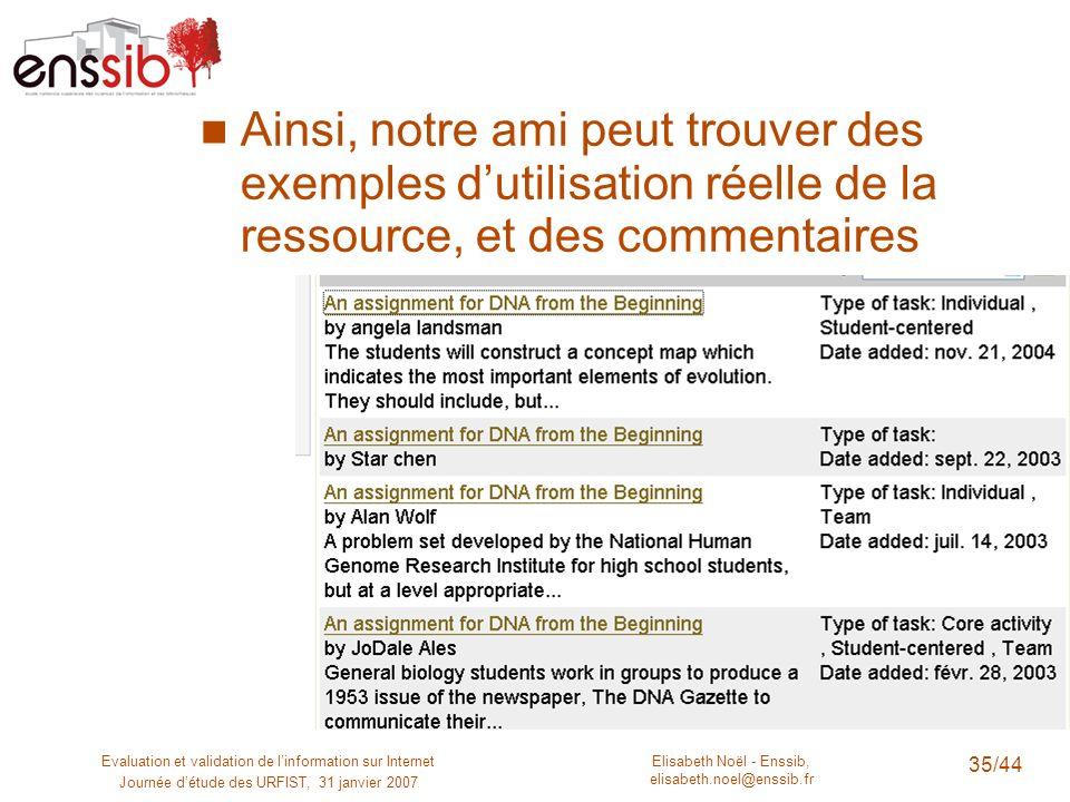Elisabeth Noël - Enssib, elisabeth.noel@enssib.fr Evaluation et validation de linformation sur Internet Journée détude des URFIST, 31 janvier 2007 35/