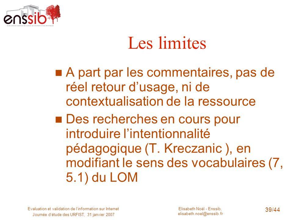 Elisabeth Noël - Enssib, elisabeth.noel@enssib.fr Evaluation et validation de linformation sur Internet Journée détude des URFIST, 31 janvier 2007 39/
