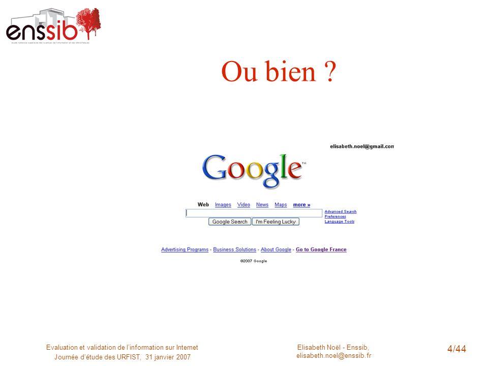 Elisabeth Noël - Enssib, elisabeth.noel@enssib.fr Evaluation et validation de linformation sur Internet Journée détude des URFIST, 31 janvier 2007 5/44