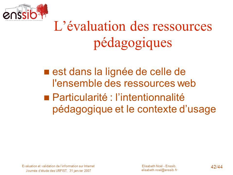 Elisabeth Noël - Enssib, elisabeth.noel@enssib.fr Evaluation et validation de linformation sur Internet Journée détude des URFIST, 31 janvier 2007 42/