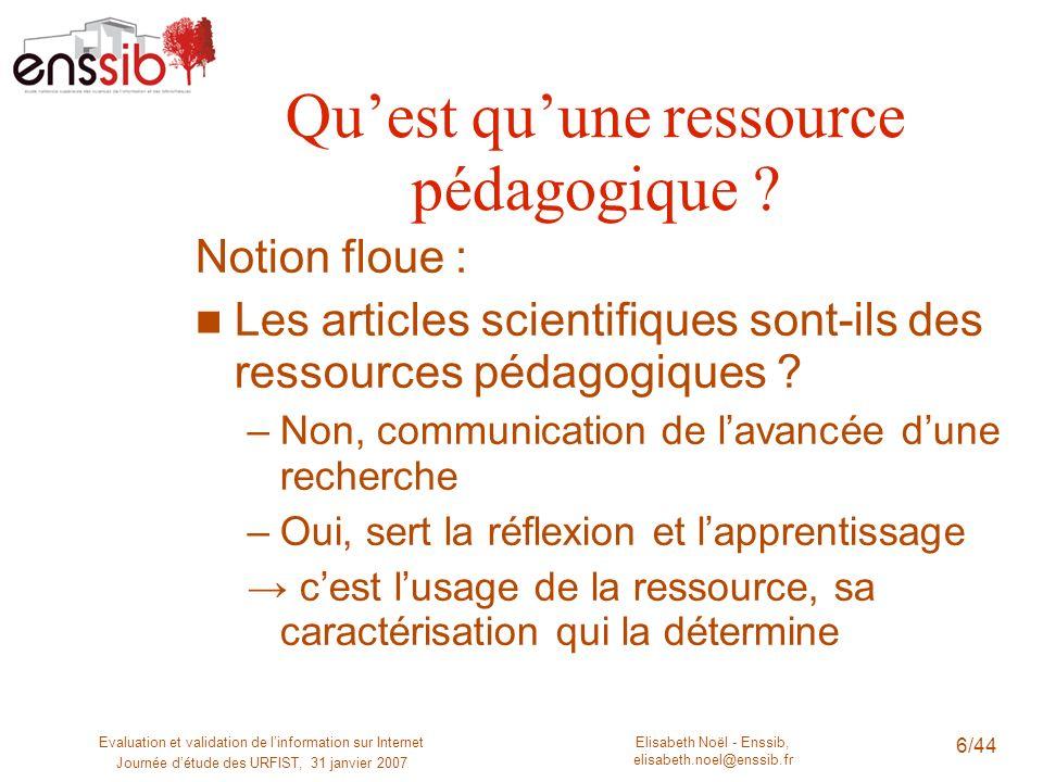 Elisabeth Noël - Enssib, elisabeth.noel@enssib.fr Evaluation et validation de linformation sur Internet Journée détude des URFIST, 31 janvier 2007 6/4