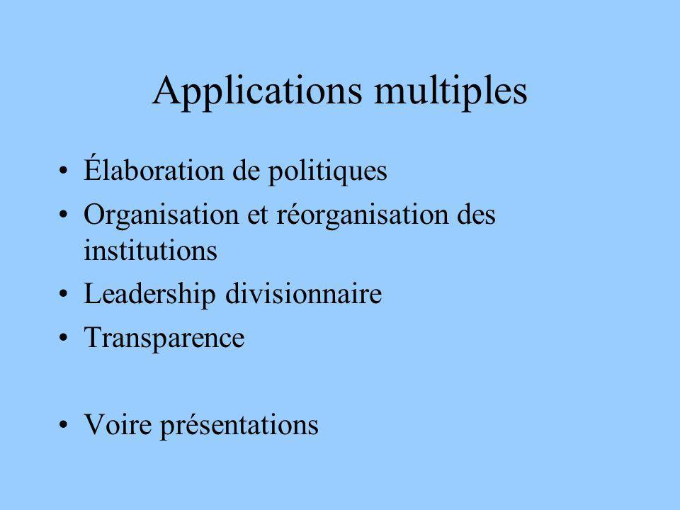 Applications multiples Élaboration de politiques Organisation et réorganisation des institutions Leadership divisionnaire Transparence Voire présentat