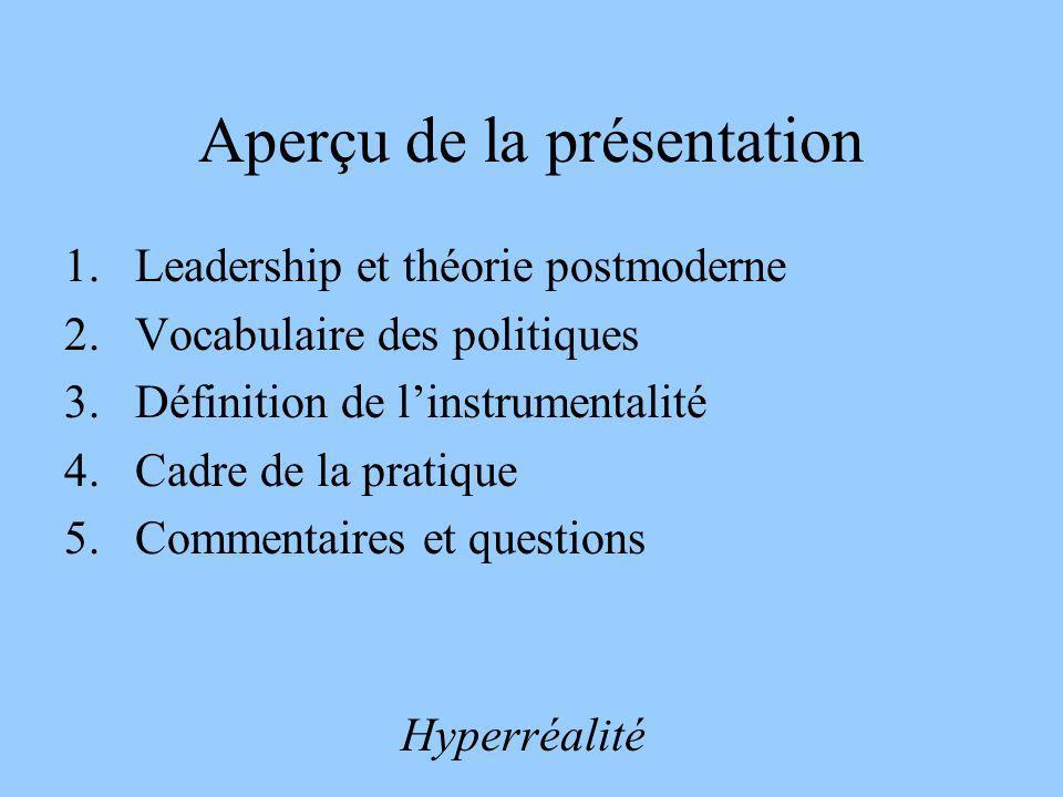 Aperçu de la présentation 1.Leadership et théorie postmoderne 2.Vocabulaire des politiques 3.Définition de linstrumentalité 4.Cadre de la pratique 5.C
