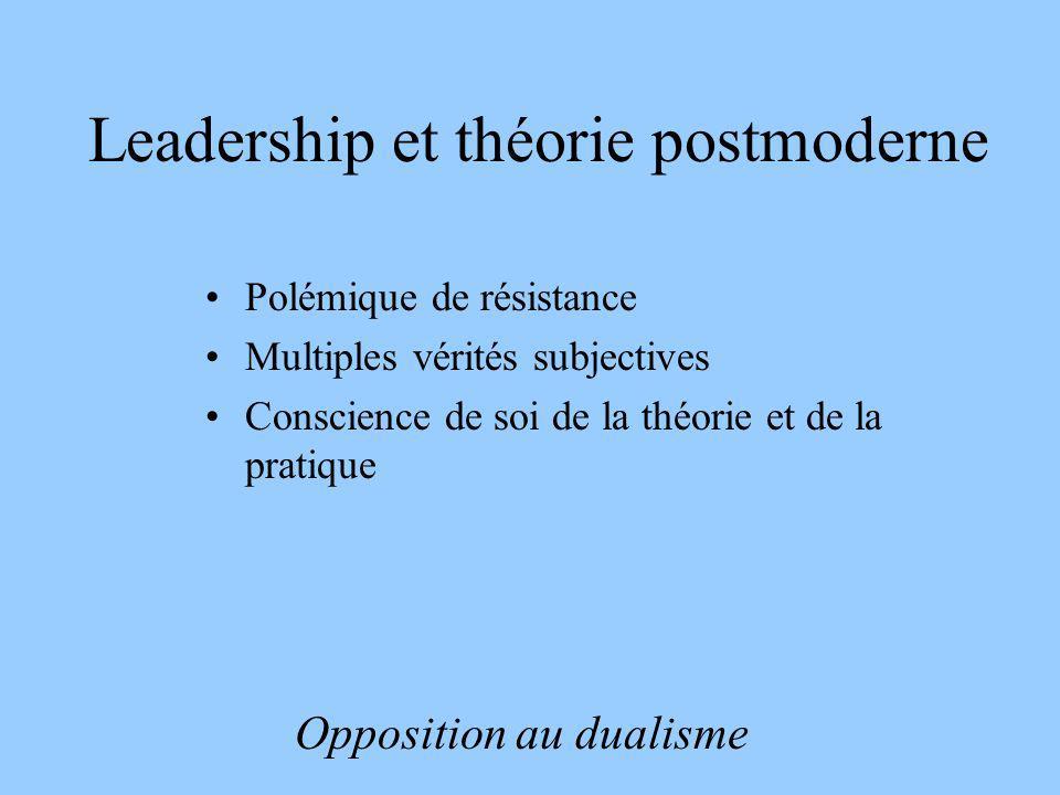 Leadership et théorie postmoderne Polémique de résistance Multiples vérités subjectives Conscience de soi de la théorie et de la pratique Opposition a