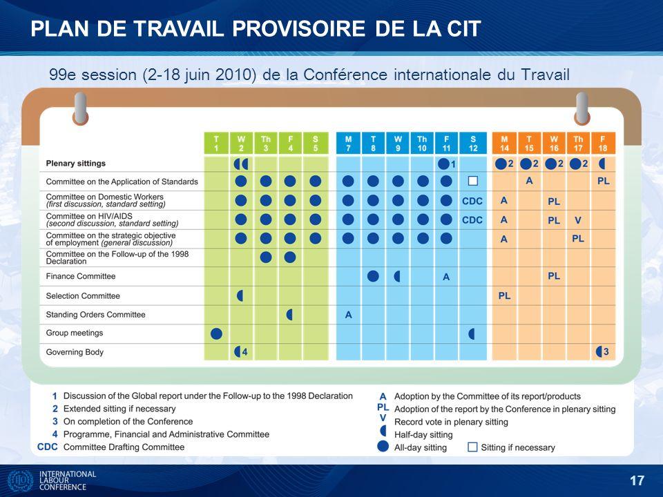 17 PLAN DE TRAVAIL PROVISOIRE DE LA CIT 99e session (2-18 juin 2010) de la Conférence internationale du Travail