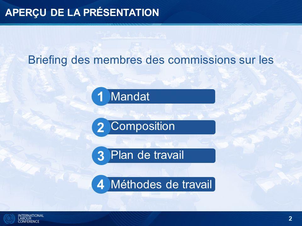 2 APERÇU DE LA PRÉSENTATION Briefing des membres des commissions sur les Mandat Composition Plan de travail Méthodes de travail 1 2 3 4