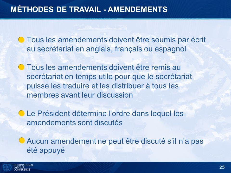 25 MÉTHODES DE TRAVAIL - AMENDEMENTS Tous les amendements doivent être soumis par écrit au secrétariat en anglais, français ou espagnol Tous les amendements doivent être remis au secrétariat en temps utile pour que le secrétariat puisse les traduire et les distribuer à tous les membres avant leur discussion Le Président détermine lordre dans lequel les amendements sont discutés Aucun amendement ne peut être discuté sil na pas été appuyé