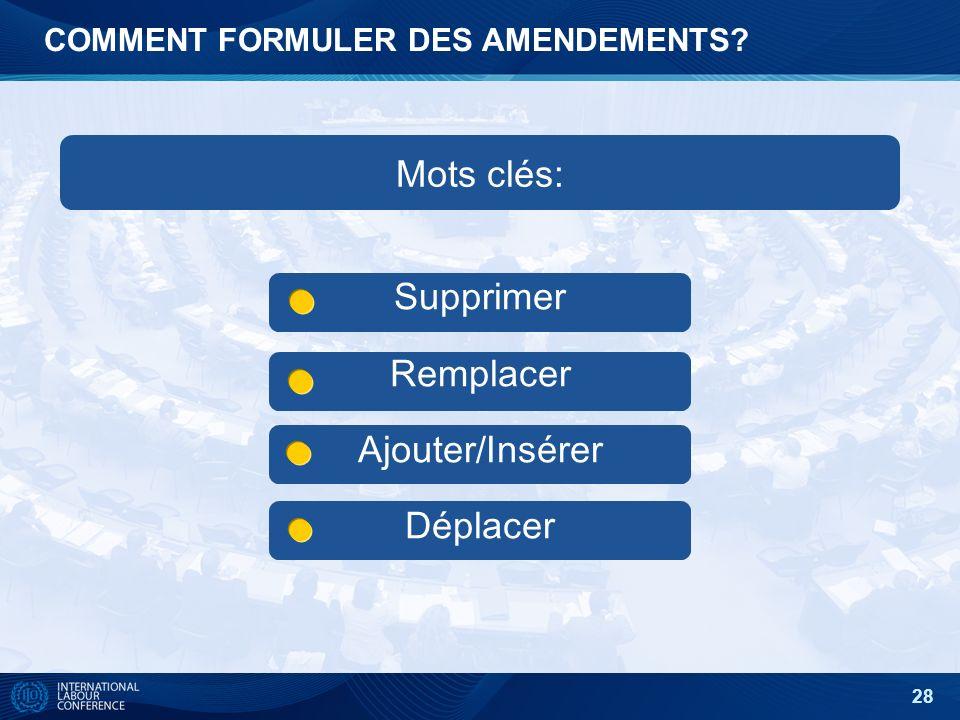 28 COMMENT FORMULER DES AMENDEMENTS? Supprimer Remplacer Ajouter/Insérer Déplacer Mots clés: