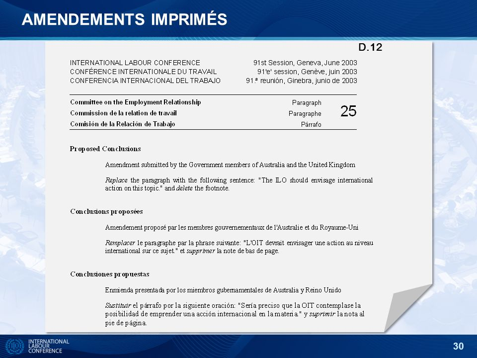 30 D.12 AMENDEMENTS IMPRIMÉS