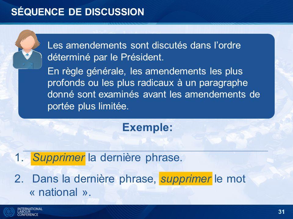 31 SÉQUENCE DE DISCUSSION Les amendements sont discutés dans lordre déterminé par le Président.