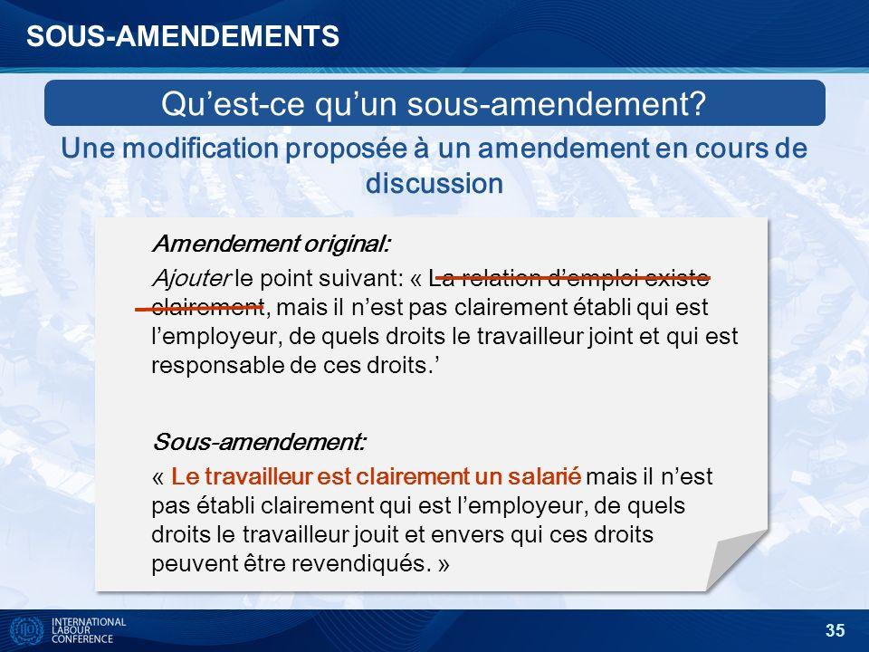 35 SOUS-AMENDEMENTS Amendement original: Ajouter le point suivant: « La relation demploi existe clairement, mais il nest pas clairement établi qui est lemployeur, de quels droits le travailleur joint et qui est responsable de ces droits.