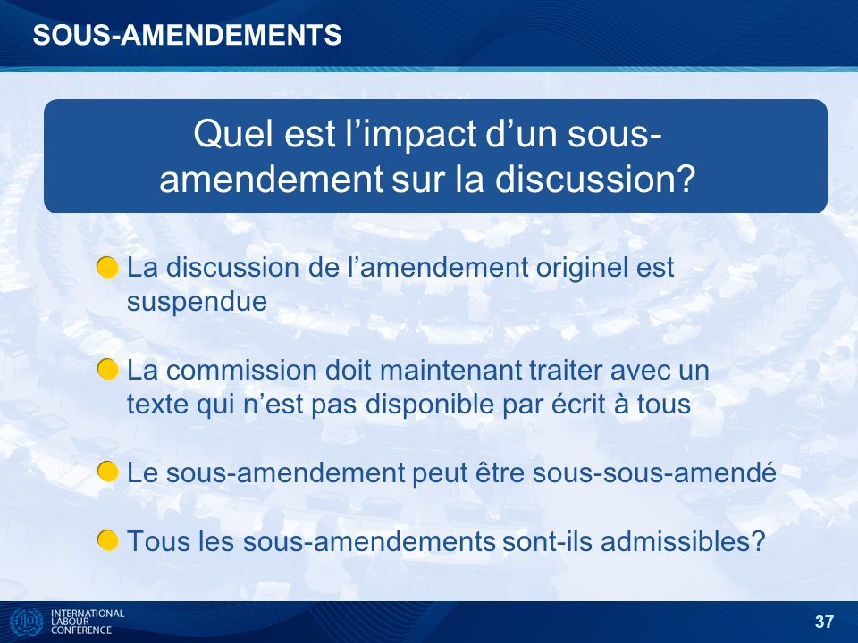 37 SOUS-AMENDEMENTS Quel est limpact dun sous- amendement sur la discussion.