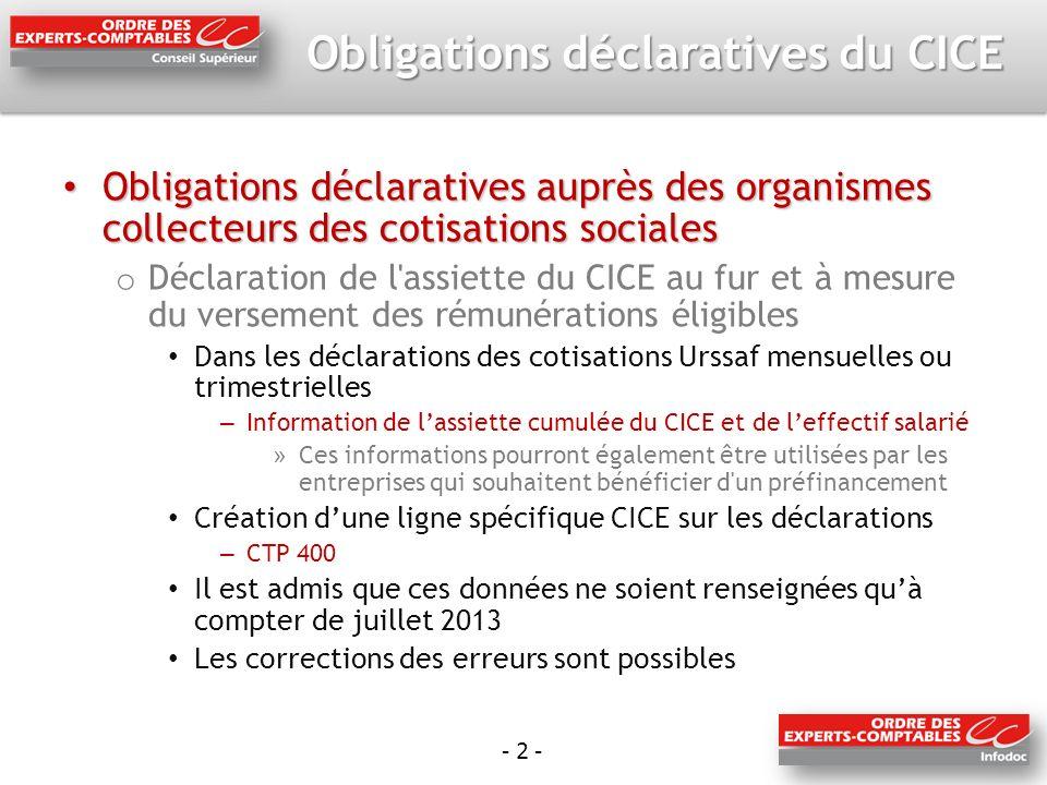 - 2 - Obligations déclaratives du CICE Obligations déclaratives auprès des organismes collecteurs des cotisations sociales Obligations déclaratives au