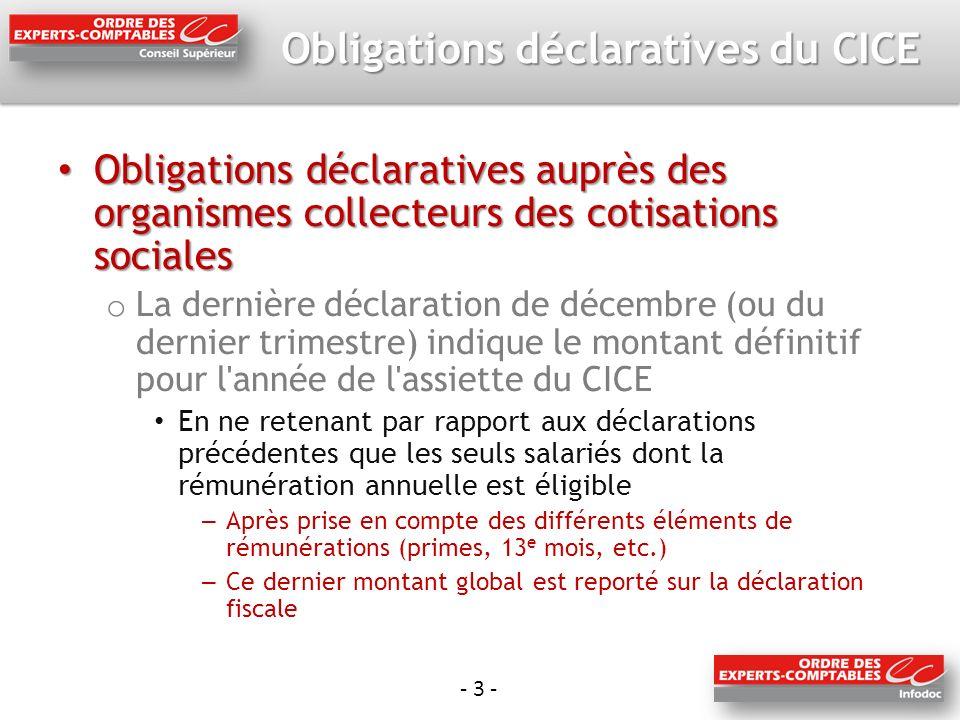 - 3 - Obligations déclaratives du CICE Obligations déclaratives auprès des organismes collecteurs des cotisations sociales Obligations déclaratives au