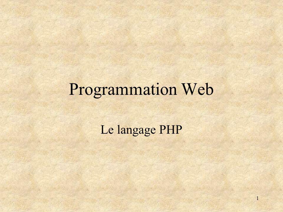 2 1 - Le langage PHP Est un langage de script Sexécute : –Dans un serveur, comme dépendance dune requête –En ligne de commande comme une alternative aux scripts système (vs.