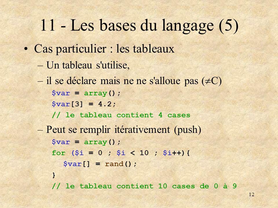 12 11 - Les bases du langage (5) Cas particulier : les tableaux –Un tableau s'utilise, –il se déclare mais ne ne s'alloue pas ( C) $var = array(); $va