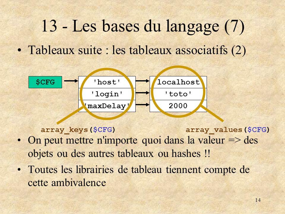 14 13 - Les bases du langage (7) Tableaux suite : les tableaux associatifs (2) On peut mettre n'importe quoi dans la valeur => des objets ou des autre