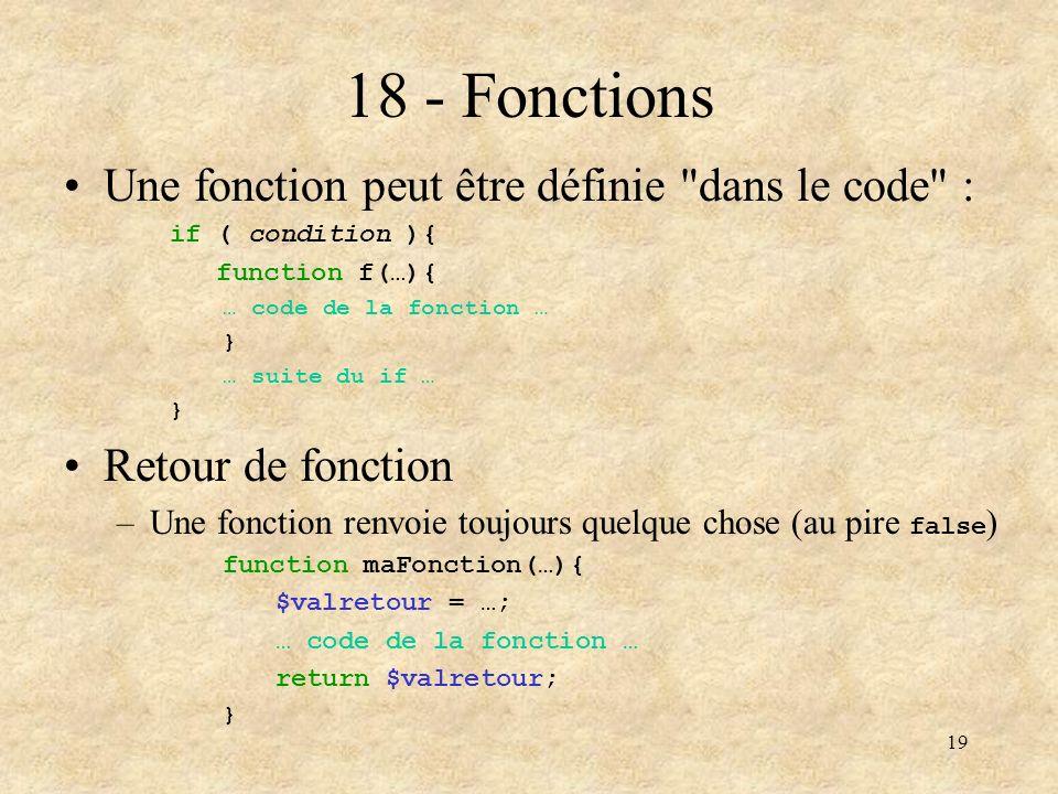 19 18 - Fonctions Une fonction peut être définie