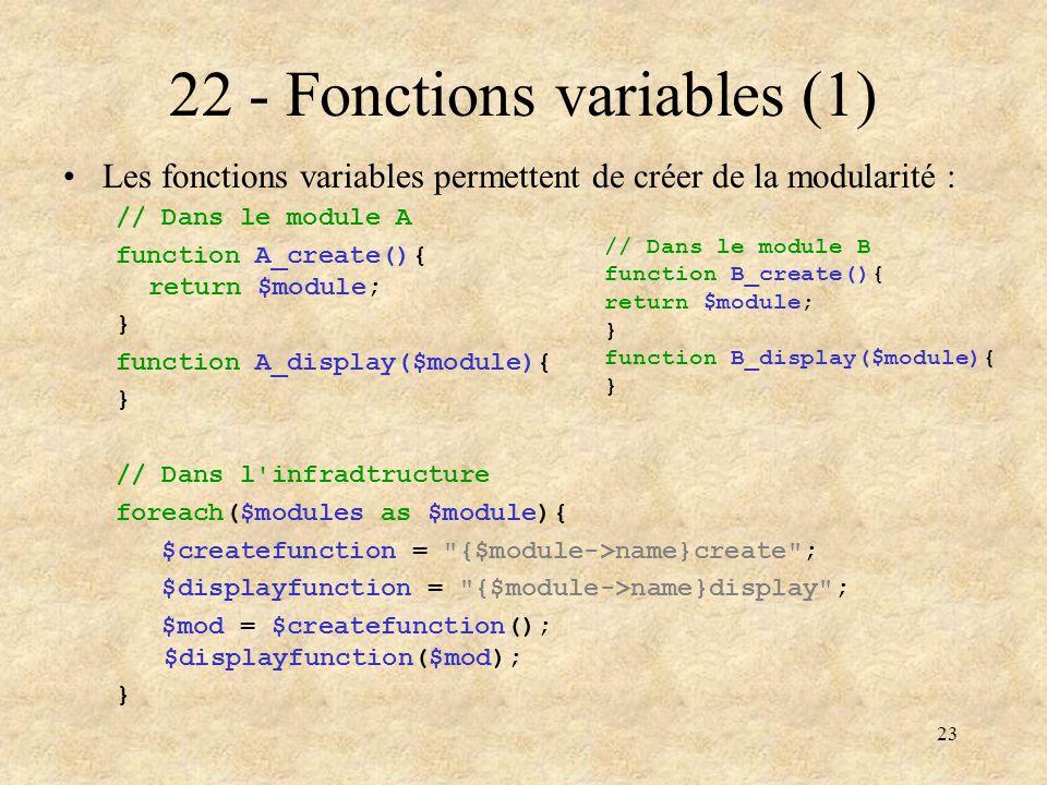 23 22 - Fonctions variables (1) Les fonctions variables permettent de créer de la modularité : // Dans le module A function A_create(){ return $module