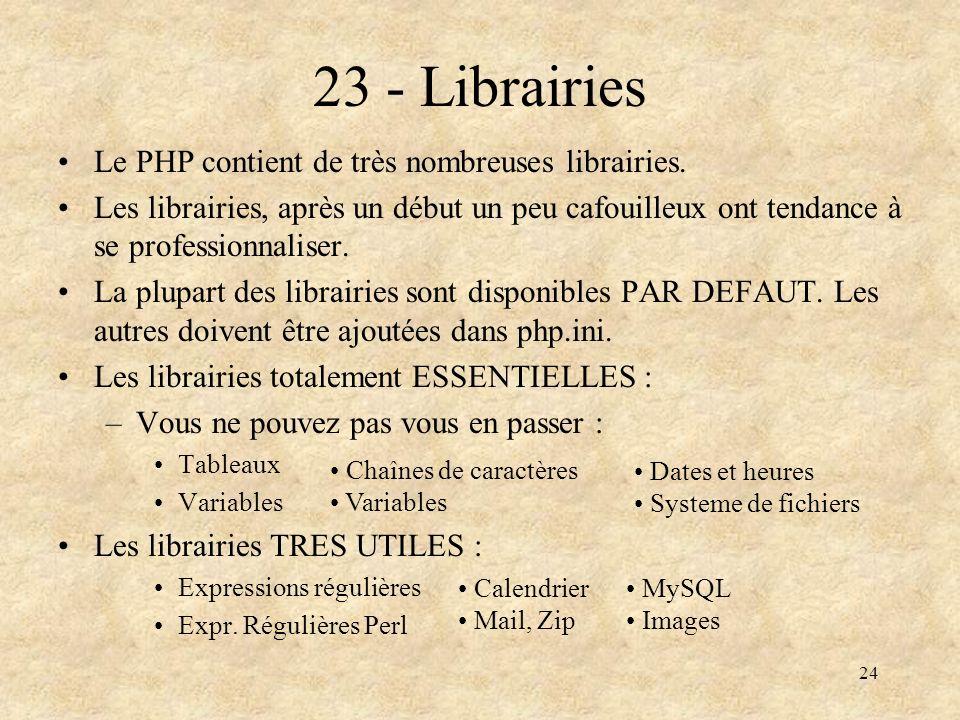 24 23 - Librairies Le PHP contient de très nombreuses librairies. Les librairies, après un début un peu cafouilleux ont tendance à se professionnalise