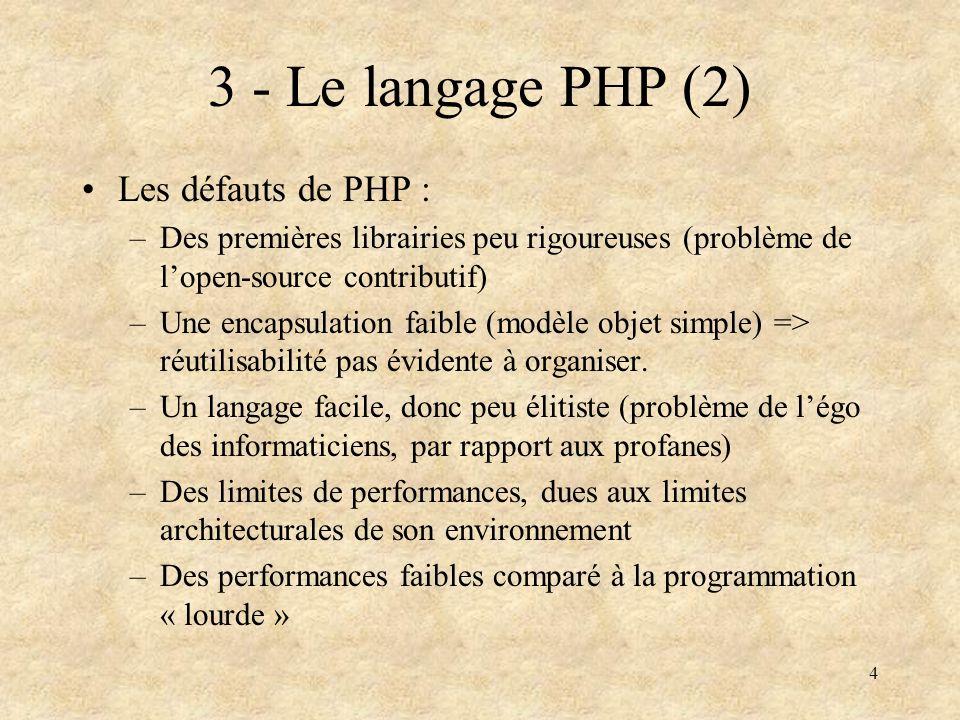 4 3 - Le langage PHP (2) Les défauts de PHP : –Des premières librairies peu rigoureuses (problème de lopen-source contributif) –Une encapsulation faib