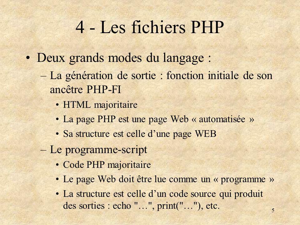 5 4 - Les fichiers PHP Deux grands modes du langage : –La génération de sortie : fonction initiale de son ancêtre PHP-FI HTML majoritaire La page PHP