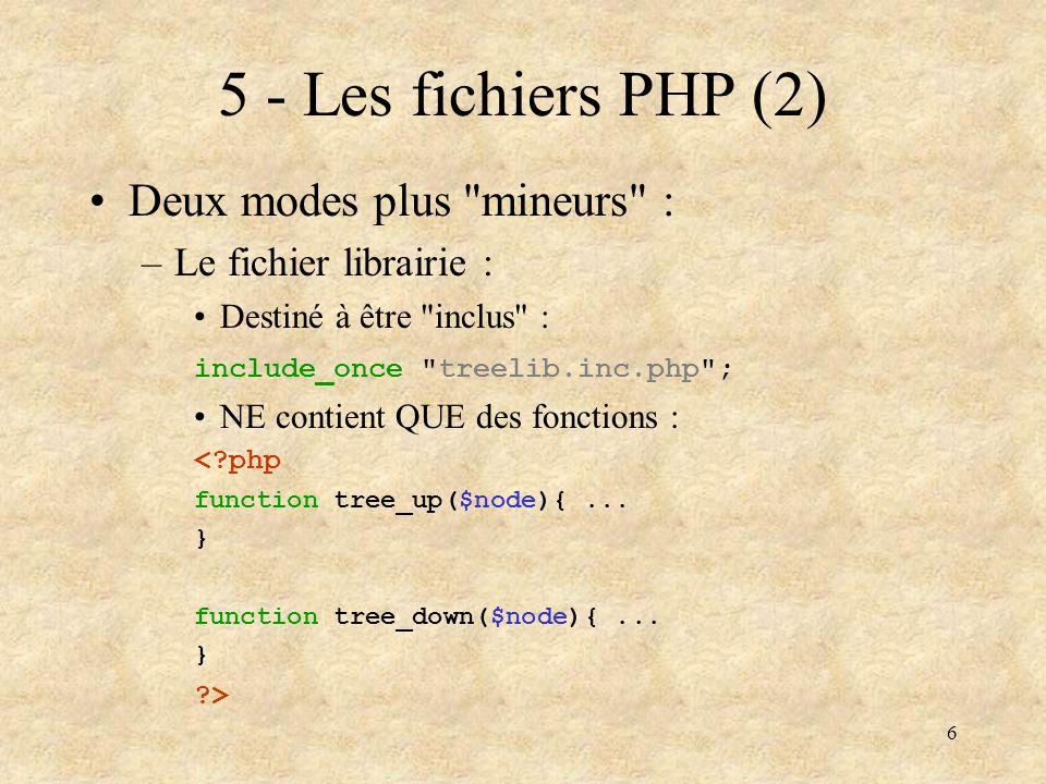 7 6 - Les fichiers PHP (3) Deux modes plus mineurs (suite) : –Le fichier de paramètres : Destiné à être inclus : include_once config.inc.php ; NE contient QUE des déclarations de variables : <?php $CFG[ host ] = localhost ; $CFG[ dblogin ] = toto ; $CFG[ dbpassword ] = monpasse ; ?>