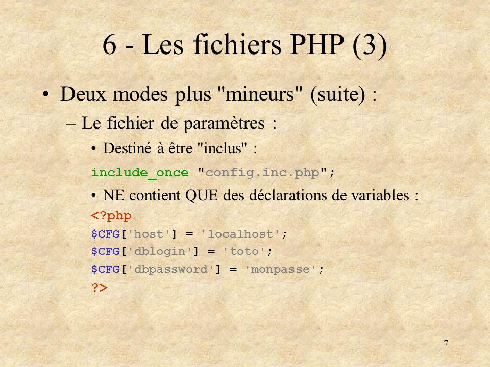 18 17 - Fonctions Fonction PHP –Une fonction est définie par son nom et ses paramètres : function maFonction($parm1, $parm2, $parm3=0){ … code de la fonction … } –Si des valeurs par défaut sont données on peut appeler la fonction sans ces paramètres : $ret = maFonction($val1, toto ); $ret = maFonction(1, titi , 4); sont tous deux valides
