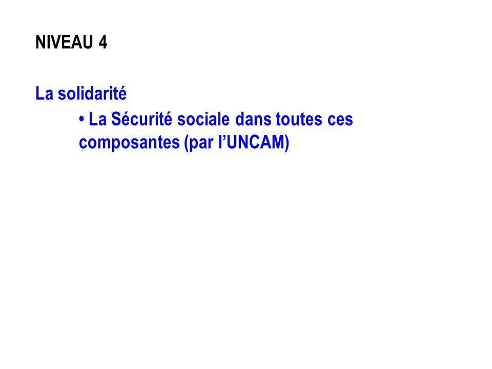 NIVEAU 4 La solidarité La Sécurité sociale dans toutes ces composantes (par lUNCAM)