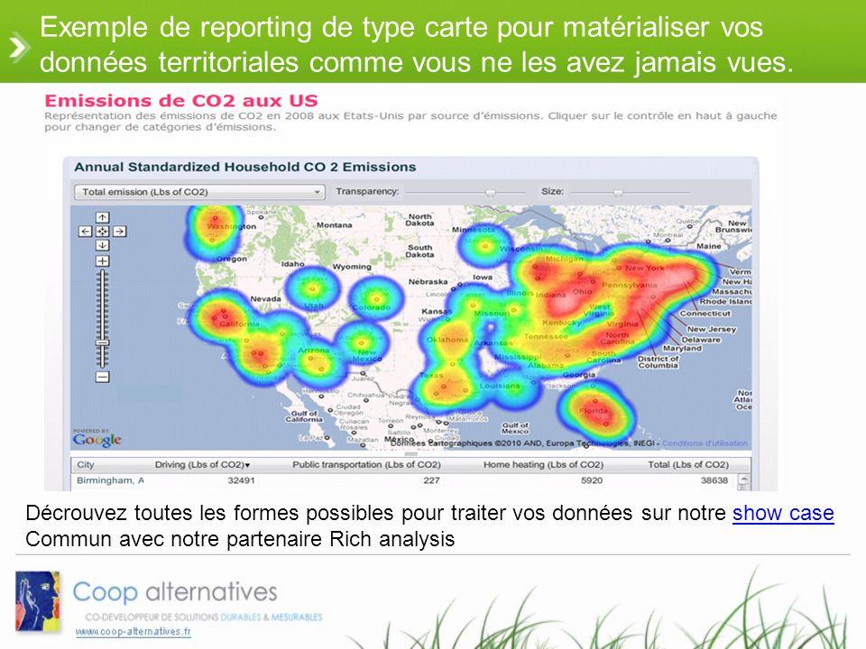 Exemple de reporting de type carte pour matérialiser vos données territoriales comme vous ne les avez jamais vues.