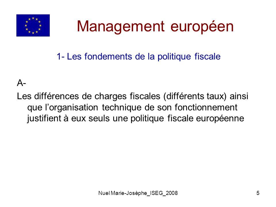 Nuel Marie-Josèphe_ISEG_20085 Management européen 1- Les fondements de la politique fiscale A- Les différences de charges fiscales (différents taux) ainsi que lorganisation technique de son fonctionnement justifient à eux seuls une politique fiscale européenne