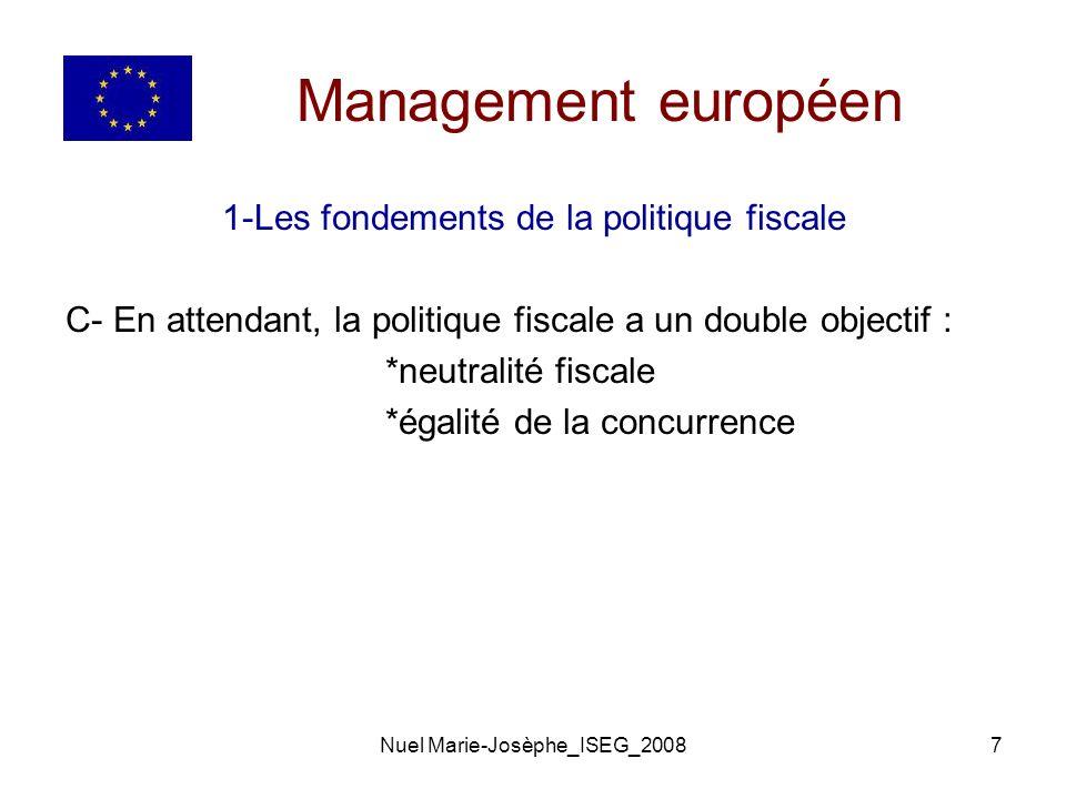 Nuel Marie-Josèphe_ISEG_20087 Management européen 1-Les fondements de la politique fiscale C- En attendant, la politique fiscale a un double objectif : *neutralité fiscale *égalité de la concurrence