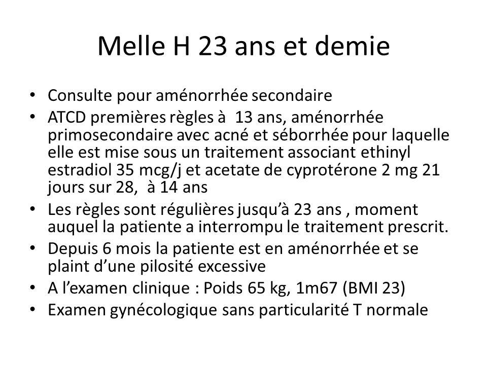 Melle H 23 ans et demie Consulte pour aménorrhée secondaire ATCD premières règles à 13 ans, aménorrhée primosecondaire avec acné et séborrhée pour laq