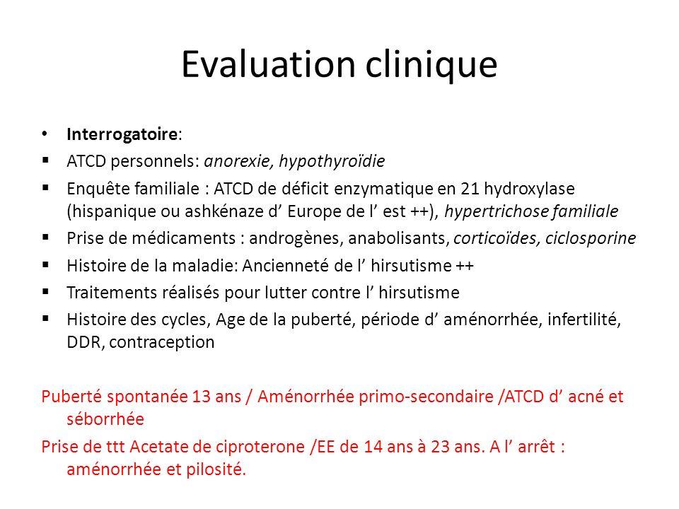 Evaluation clinique Interrogatoire: ATCD personnels: anorexie, hypothyroïdie Enquête familiale : ATCD de déficit enzymatique en 21 hydroxylase (hispan