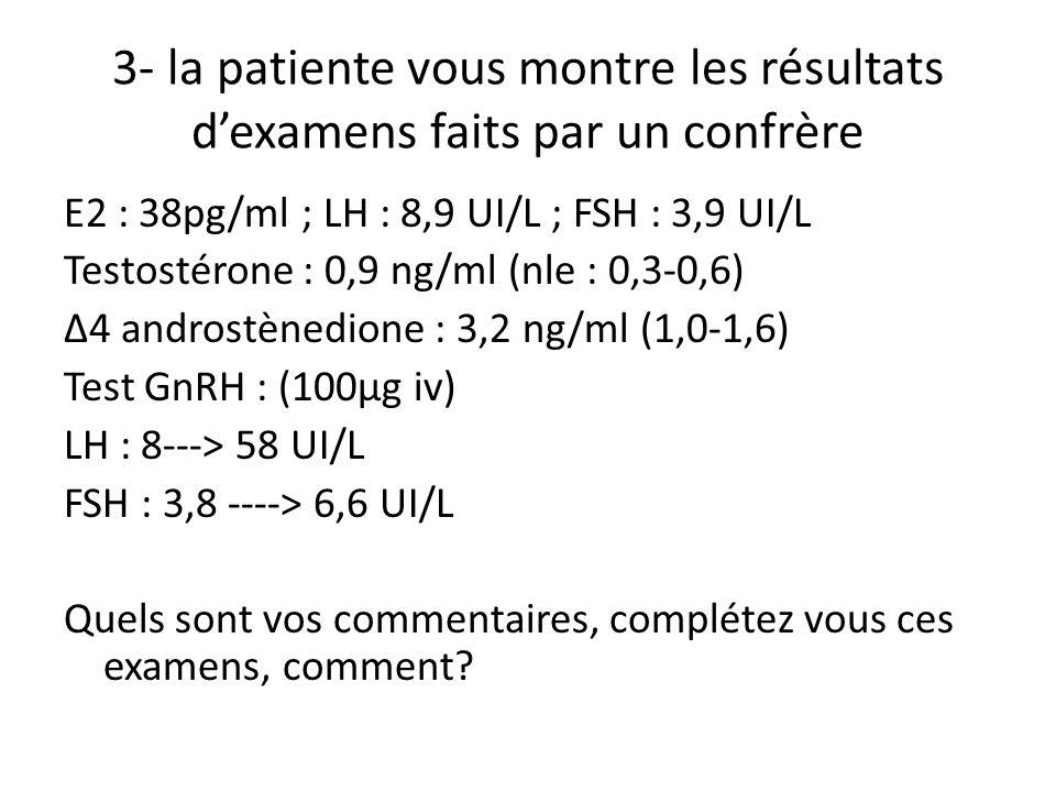 3- la patiente vous montre les résultats dexamens faits par un confrère E2 : 38pg/ml ; LH : 8,9 UI/L ; FSH : 3,9 UI/L Testostérone : 0,9 ng/ml (nle :