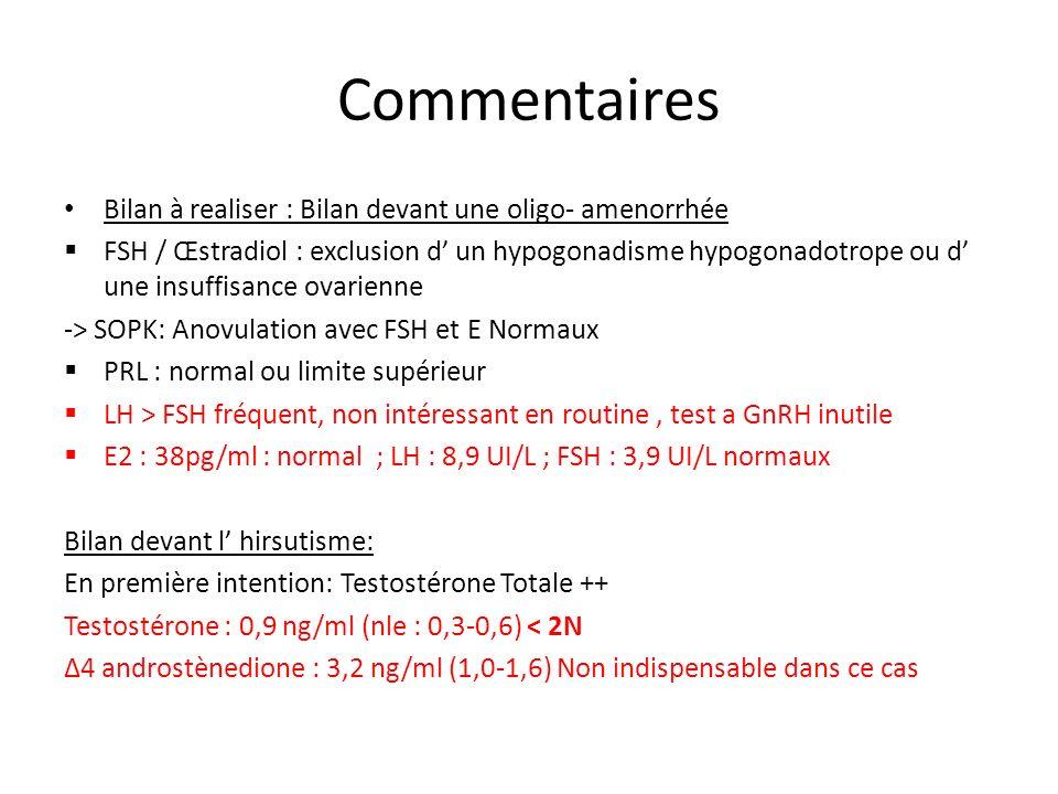 Commentaires Bilan à realiser : Bilan devant une oligo- amenorrhée FSH / Œstradiol : exclusion d un hypogonadisme hypogonadotrope ou d une insuffisanc
