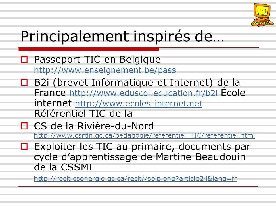 Principalement inspirés de… Passeport TIC en Belgique http://www.enseignement.be/pass http://www.enseignement.be/pass B2i (brevet Informatique et Inte