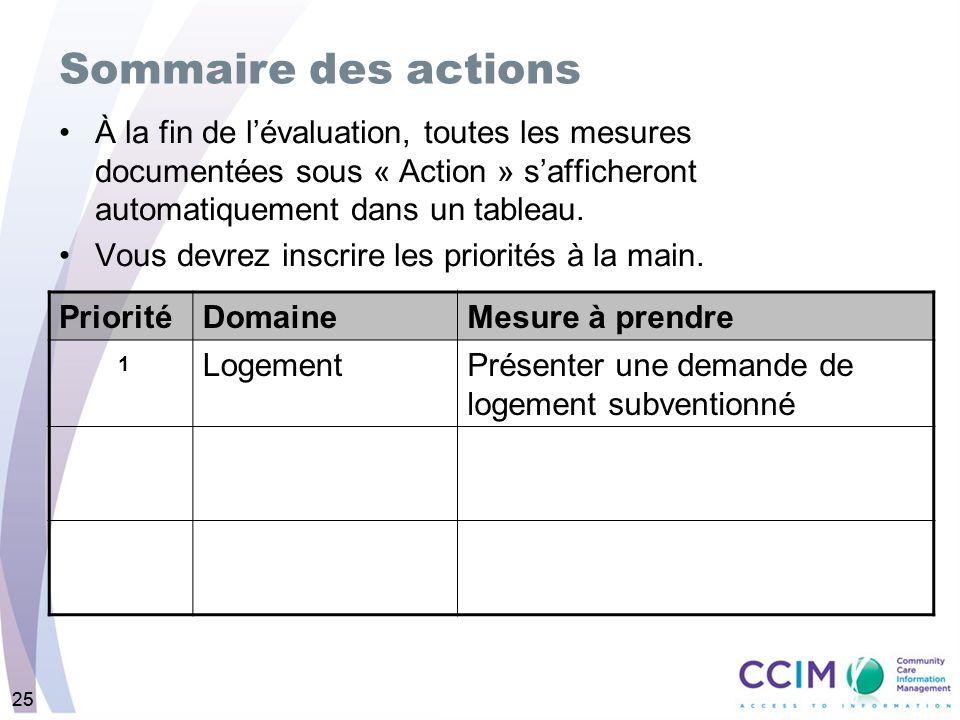 25 À la fin de lévaluation, toutes les mesures documentées sous « Action » safficheront automatiquement dans un tableau.