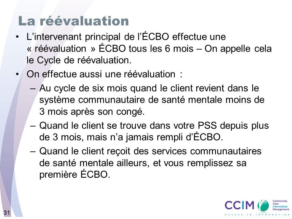 31 La réévaluation Lintervenant principal de lÉCBO effectue une « réévaluation » ÉCBO tous les 6 mois – On appelle cela le Cycle de réévaluation.