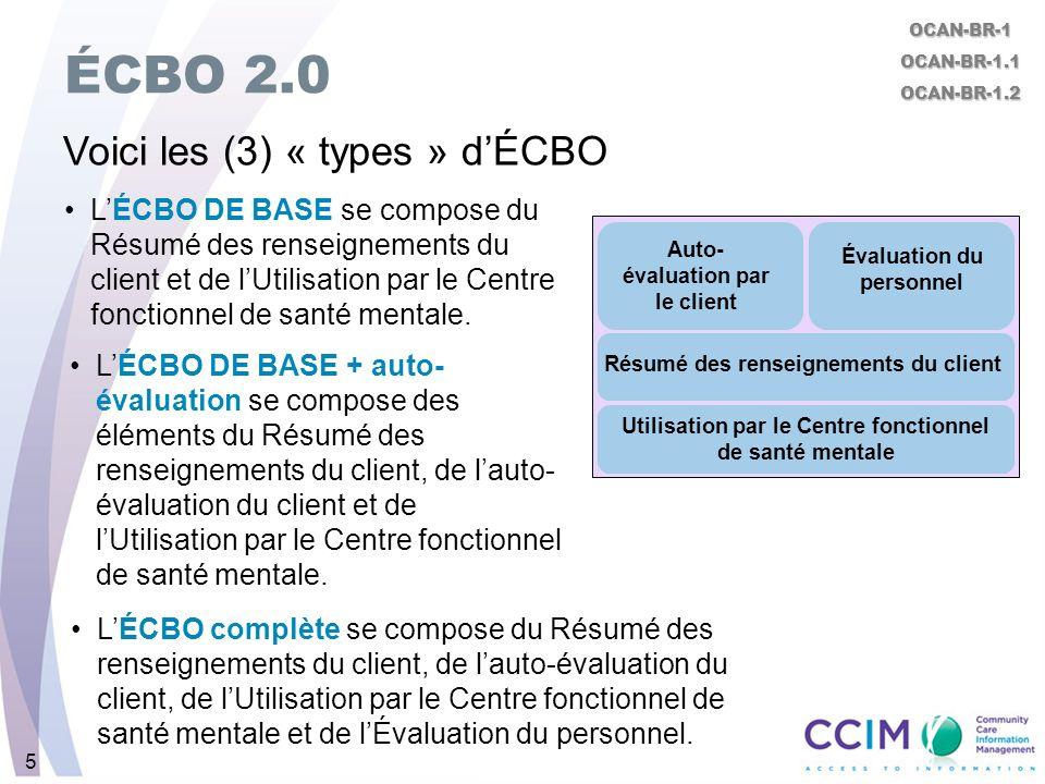 5 ÉCBO 2.0 Voici les (3) « types » dÉCBO LÉCBO DE BASE se compose du Résumé des renseignements du client et de lUtilisation par le Centre fonctionnel de santé mentale.