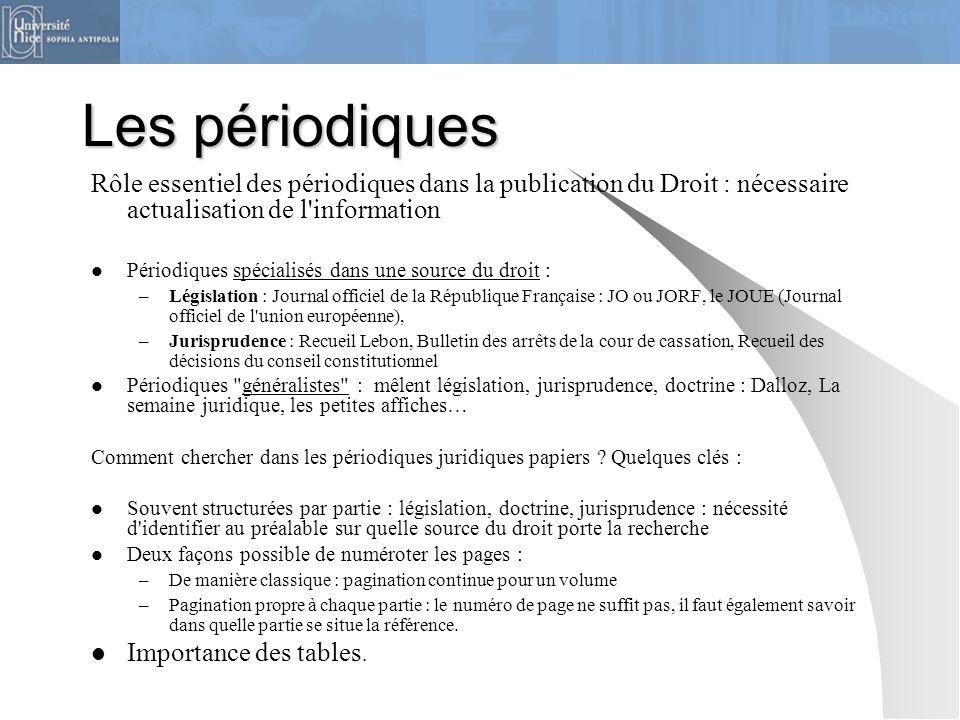 Les périodiques Rôle essentiel des périodiques dans la publication du Droit : nécessaire actualisation de l'information Périodiques spécialisés dans u