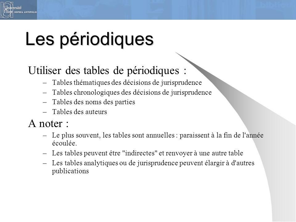 Les périodiques Utiliser des tables de périodiques : –Tables thématiques des décisions de jurisprudence –Tables chronologiques des décisions de jurisp