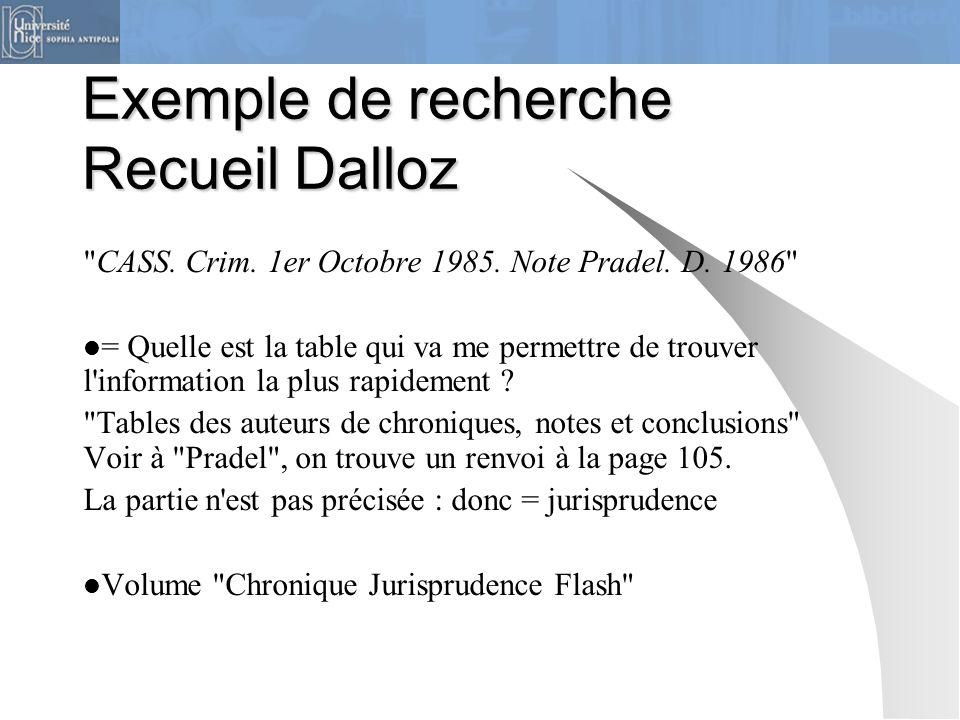 Exemple de recherche Recueil Dalloz