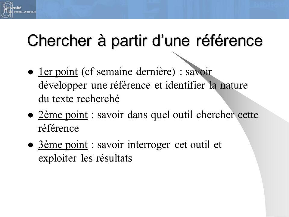 Chercher à partir dune référence 1er point (cf semaine dernière) : savoir développer une référence et identifier la nature du texte recherché 2ème poi