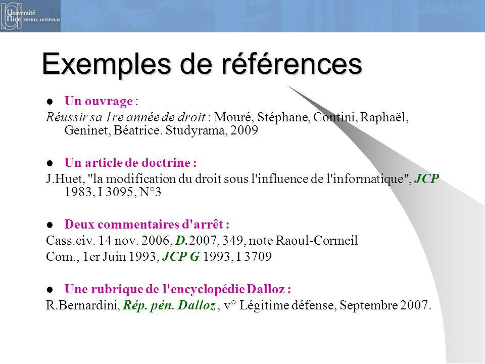 Exemples de références Un ouvrage : Réussir sa 1re année de droit : Mouré, Stéphane, Contini, Raphaël, Geninet, Béatrice. Studyrama, 2009 Un article d