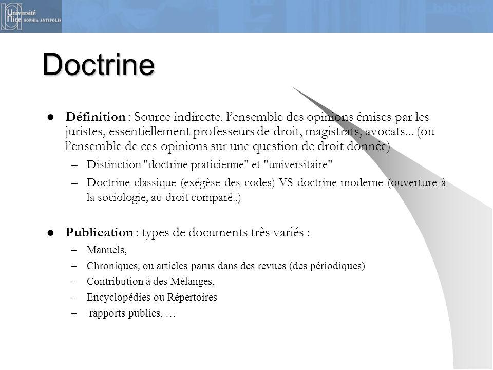 Doctrine Définition : Source indirecte. lensemble des opinions émises par les juristes, essentiellement professeurs de droit, magistrats, avocats... (