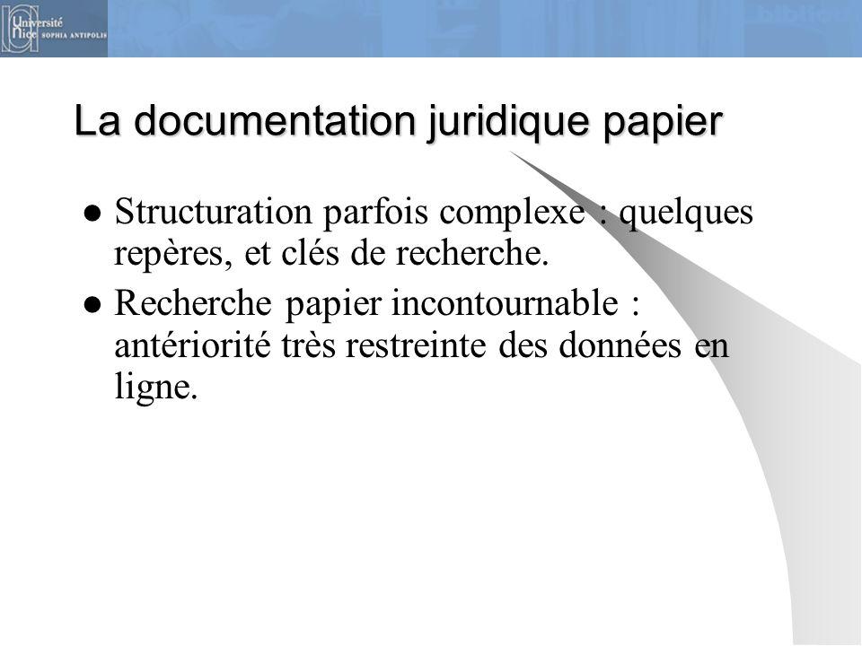 La documentation juridique papier Structuration parfois complexe : quelques repères, et clés de recherche. Recherche papier incontournable : antériori